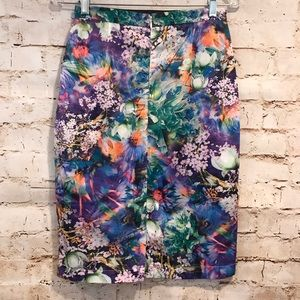 Kingdom and State Skirts - Kingdom & State | Multi Floral Pencil Skirt Small